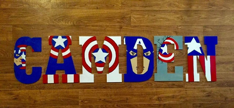 Captain America Wooden Letters Artsy Autly