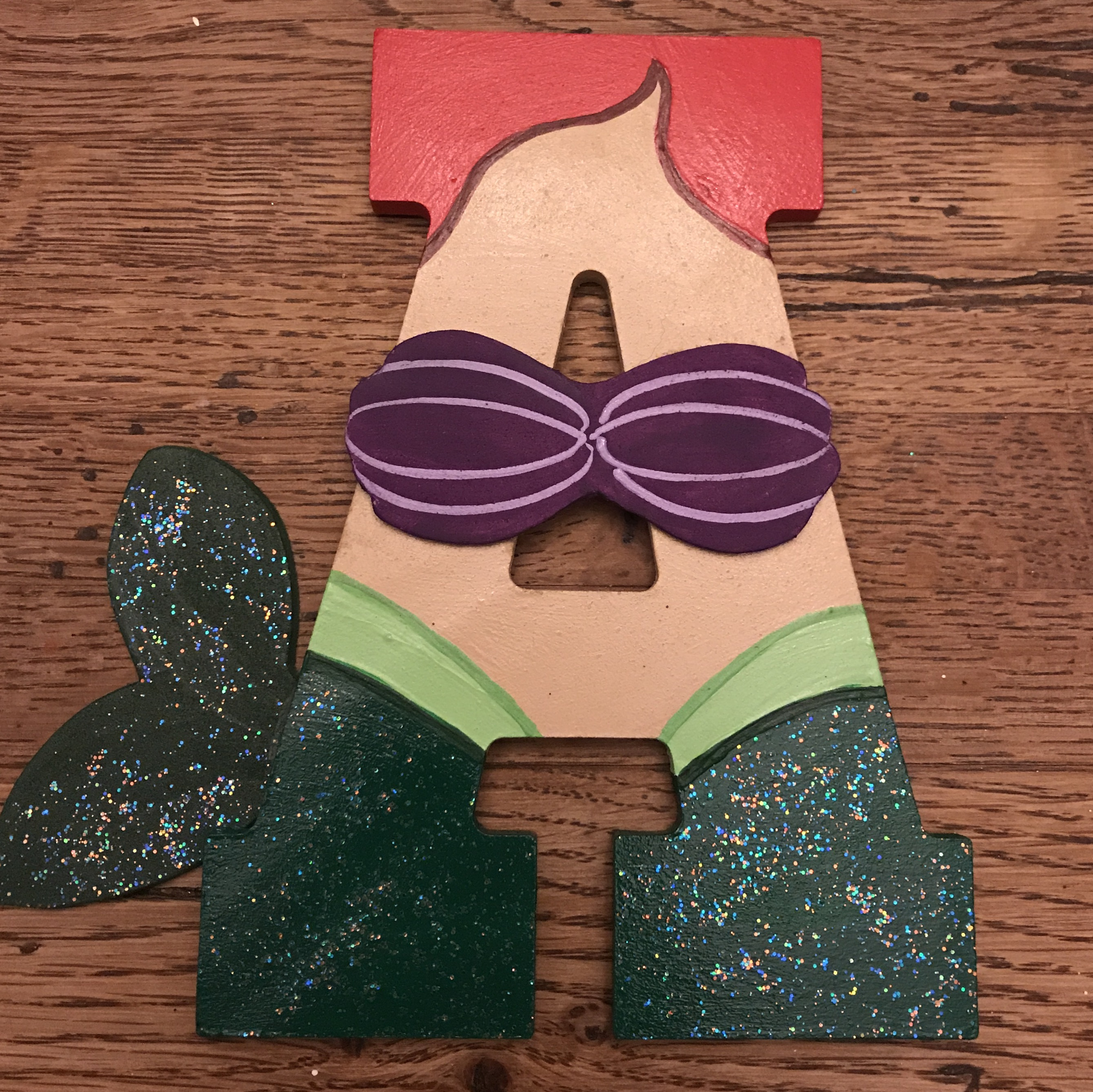 Disney Princess Ariel Little Mermaid Wooden Letters Artsy Autly