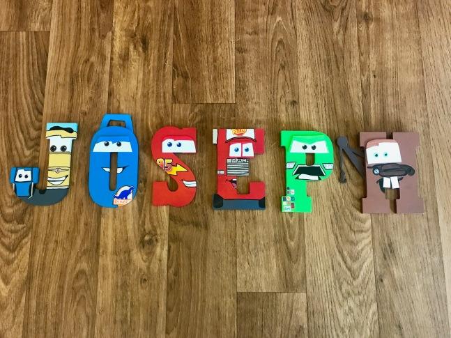 "5"" Cars Wooden Letters - Joseph"